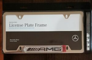 Mercedes benz Genuine Polished Stainless Steel License Plate Frame Amg Logo New