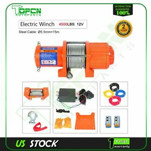 4500lbs Electric Winch 12v Steel Cable Truck Trailer Towing Off Road 4wd New