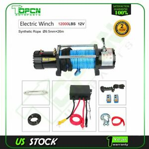 12000lbs Electric Winch 12v Synthetic Cable Truck Trailer Towing Off Road 4wd