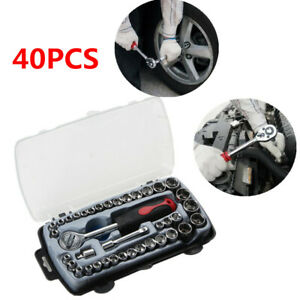 40pcs Wrench Sleeve Hand Tool Box For Car Repair Ratchet Torque Motorcycle Tyre