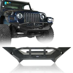 Mid Front Bumper With Winch Plate 18w Led Light For Jeep Wrangler 1997 2006 Tj