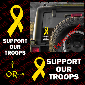 Support Our Troops Yellow Ribbon Patriotic Usa Soldier Vinyl Die Cut Decal Us032