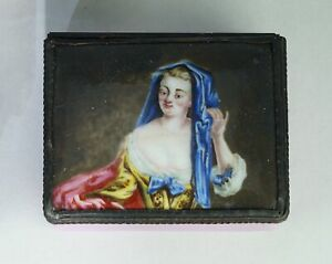 English Enamel Snuff Box With Well Painted Portrait C 1770