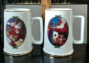 2-1996 Christmas Coca-Cola Mugs Gold Trim Ultimate Sour For Santa Seasons Greeti