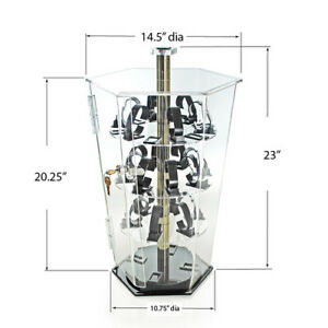 Rotating Wrist Watch Display Case With Lock 14 5 D X 23 H Inches