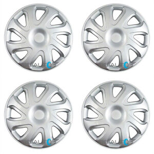 4 New 14 Inch Silver Hubcaps Wheel Covers Set For 2000 2002 Toyota Corolla