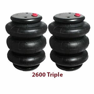 Two Triple Bellow 2600 Air Bag 1 2 Npt Single Port Ride Springs Bags Suspension