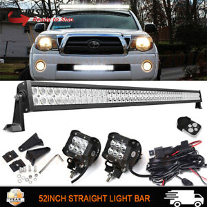 52inch Led Work Light Bar Spot Flood 4 Cube Pods Wiring For Toyota Tacoma 50