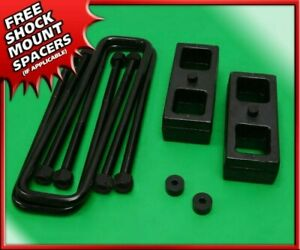 Rear Level Lift 1 Steel Blocks U bolts Kit For 94 02 Dodge Ram 2500 3500 2wd