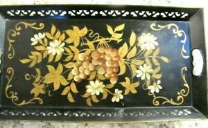Vintage Black Gold Grapes Leaves Tole Painted Retangular Tray