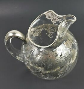 Antique 1930 Cambridge Sterling Silver Grape Leaf Overlay Glass Water Pitcher