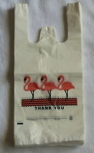 Lot 1000 Flamingo Plastic Thank you T shirt Shopping Bags Jumbo