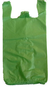 2000 Green Plastic T shirt Shopping Bags Handles Retail Grocery Large