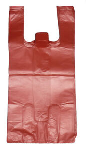 2000 Red Plastic T shirt Shopping Bags Handles Retail Grocery Large