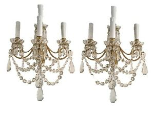 A Pair French Victorian Bronze Crystal Beaded Wall Sconces Four Light 19th C