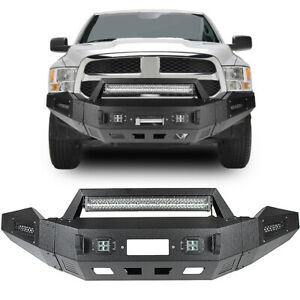 For 2013 2018 Dodge Ram 1500 Heavy Duty Steel Front Bumper With Led Light Bar