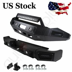 Fits Dodge Ram 1500 13 18 Front Rear Bumper Guard Textured Steel W Winch Leds