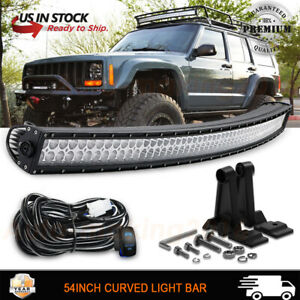 Curved 54inch Upper Roof Led Light Bar Wiring Kit For Jeep Grand Cherokee 52
