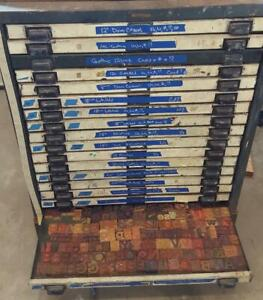 15 Fonts Of Wood Type In Old Metal 18 Drawer Letterpress Cabinet