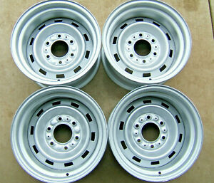 Set Of 4 Chevy Gm Gmc Truck15x8 6 Lug Rally Wheels Caps Trim Rings