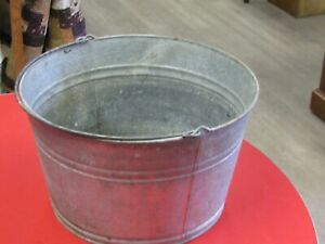 Vintage Galvanized 5 Egg Wash Pail With Bail Handle