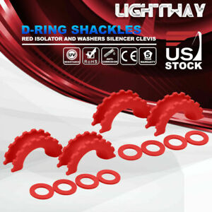 2 Sets D ring Isolator Washers Kits Silencer Clevis Red For 3 4 D ring Shackles