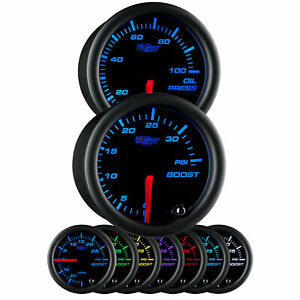 Glowshift Black 7 Color 52mm Gauge Combo Kit 35 Psi Turbo Boost