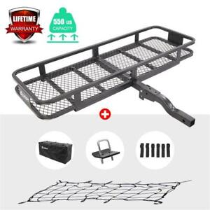 500lbs Folding Hitch Mounted Cargo Carrier Luggage Basket Fits 2 Receiver W net
