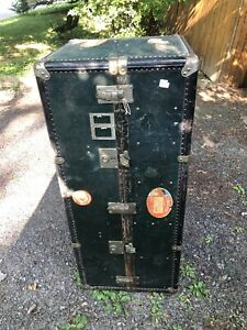 Antique Albert Rosenhain Wardrobe Steamer Trunk Luggage Chest Vintage 54 Tall