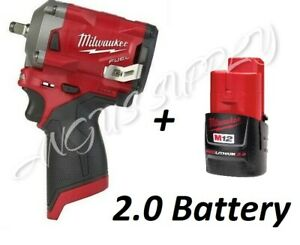 Milwaukee 2554 20 M12 Stubby 3 8 Drive Impact Wrench Bare Tool With 4 0 Battery