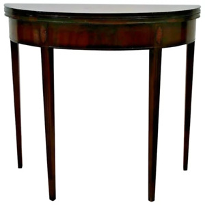 Vintage Expanding Console Game Table Solid Mahogany Hidden Storage Demilune