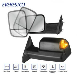 Pair Power Heated Towing Mirrors For 2009 18 Dodge Ram 1500 2010 2018 2500 3500