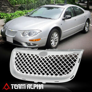 Glossy Chrome Abs 3d Wave Mesh Front Bumper Grille grill Fit 99 04 Chrysler 300m