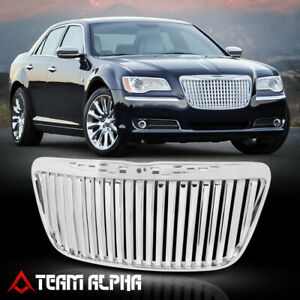 Glossy Chrome Abs Vertical Bar Billet Grille grill Fits 11 14 Chrysler 300 300c