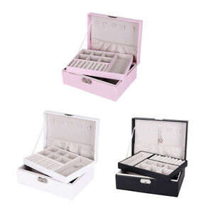 3 Pieces Jewelry Box Organizer Dual Layer Case For Earrings Necklace W Lock