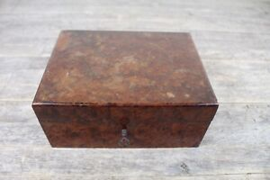 Antique Victorian Walnut Wood Sewing Work Jewellery Box With Lock