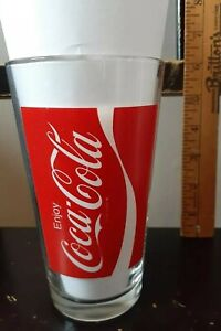 Vintage Enjoy Coca Cola Drinking Glass with The Wave logo