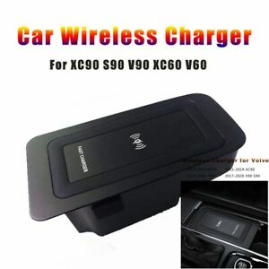 Car Wireless Charger For Volvo Xc90 Xc60 S90 V90 Phone Charging Plate Accessory