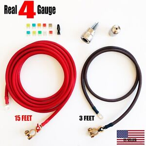 Battery Relocation Kit 4 Awg Cable Top Post 15 Ft Red 3 Ft Black Made In Usa