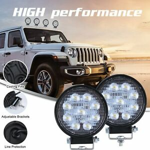 2x Round 90w 12v 24v Led Working Spot Lights Lamps For Car Atv Offroad Suv Truck