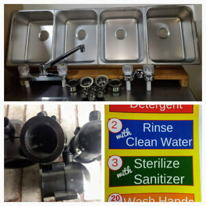 4 Large Compartment Concession Sinks 3 Dish 1 Hand Washing Sink 4 Drain Traps