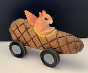 Rare Vintage Hand Crafted Carved Wooden Squirrel Racing In Pinecone Must See