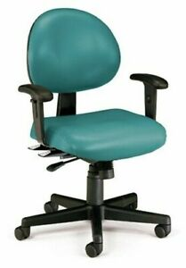 Anti bacterial Teal Vinyl Medical Office Task Chair With Adjustable Height Arms