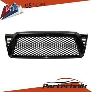 For 2005 2011 Toyota Tacoma Glossy Black Abs Upper Front Hood Mesh Grille Grill