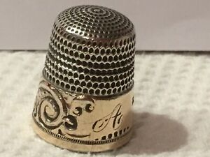 Antq Ornate Simons Sterling Gold Band Thimble 11 Scroll Feather Design Initial A
