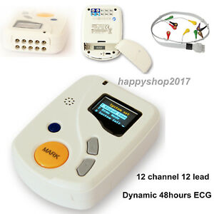 12 Channel 48 Hours Recorder Ecg ekg Holter Monitor System Free Software Tlc6000