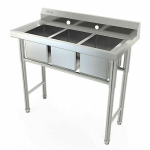New 39 Wide 3 Compartment Stainless Steel Bar Sink Kitchen Sink Large Capacity