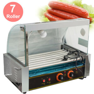 Portable 18 Hot Dog Hotdog 7 Roller Grill Cooker Machine W Stainless Tray Hood