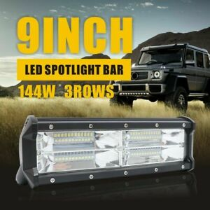1x 144w 9inch Led Wore Light Bar Spot Flood Beam Jeep Off Road Atv Driving 6000k