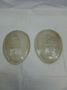 Pair Of 1937 Vintage Glass Headlight Lens Covers Teardrop H 112 Lx